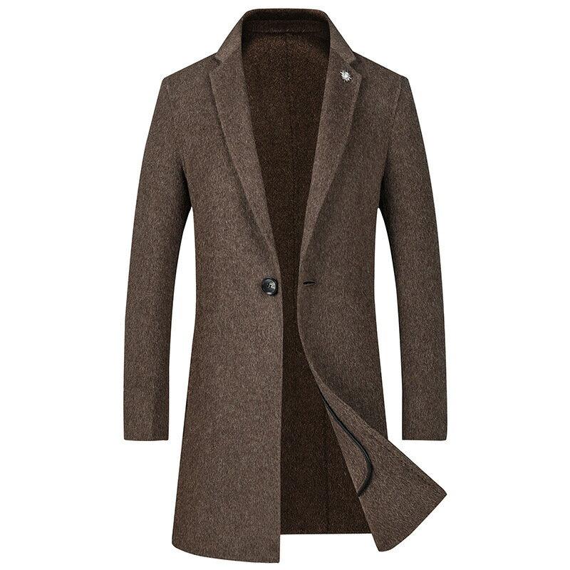毛呢大衣中長版風衣-羊毛單粒扣純色修身男外套3色73wk32【獨家進口】【米蘭精品】 2