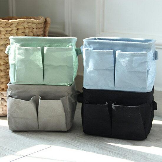 ♚MY COLOR♚ 雙邊袋棉麻收納盒 辦公 風格 居家 裝飾 可折疊 環保 布藝 簡約