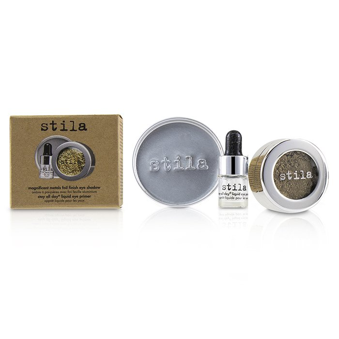 Stila 詩狄娜 金屬色高光眼影 Magnificent Metals Foil Finish Eye Shadow With Mini Stay All Day Liquid Eye Primer - # Vintage Black Gold 2pcs