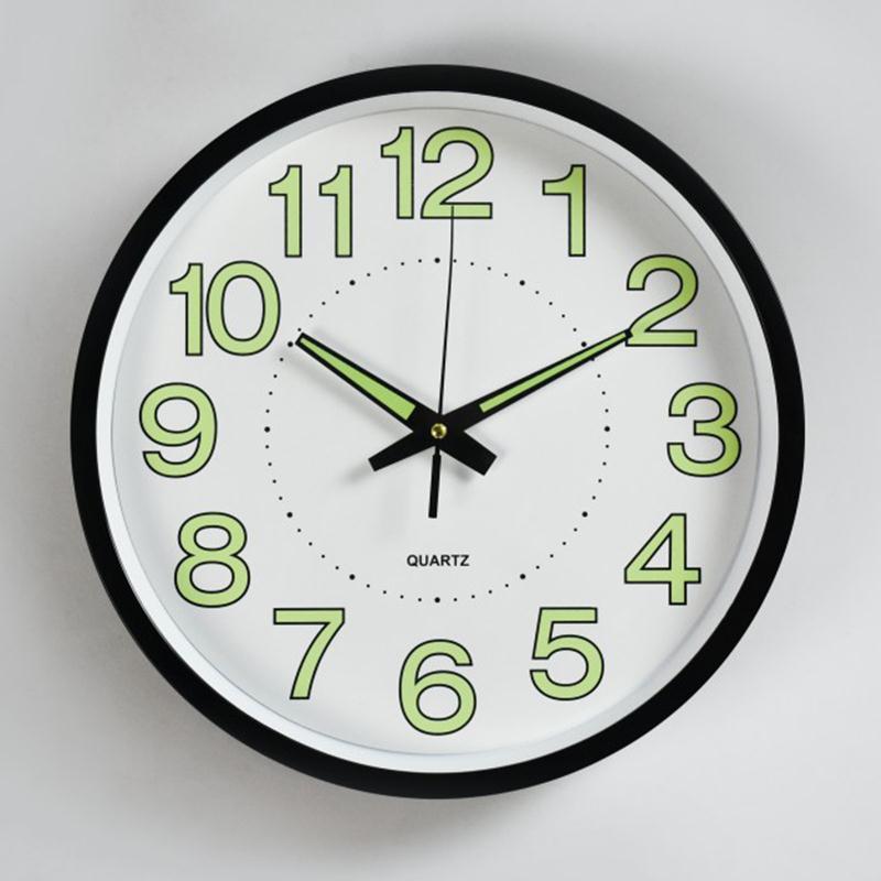 熱銷家用夜光發光發亮掛鐘無聲靜音臥室辦公室客廳創意個