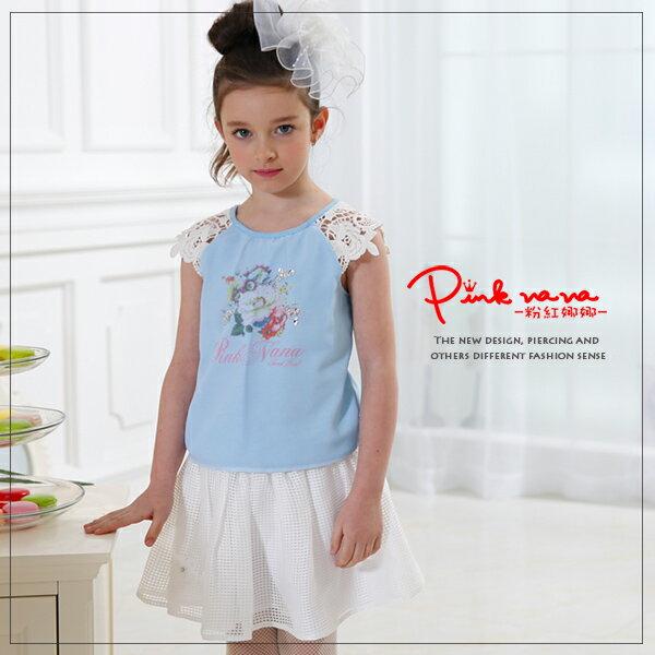 Pink Nana:PINKNANA童裝女童古典蕾絲肩雪紡棉質上衣33175親子裝