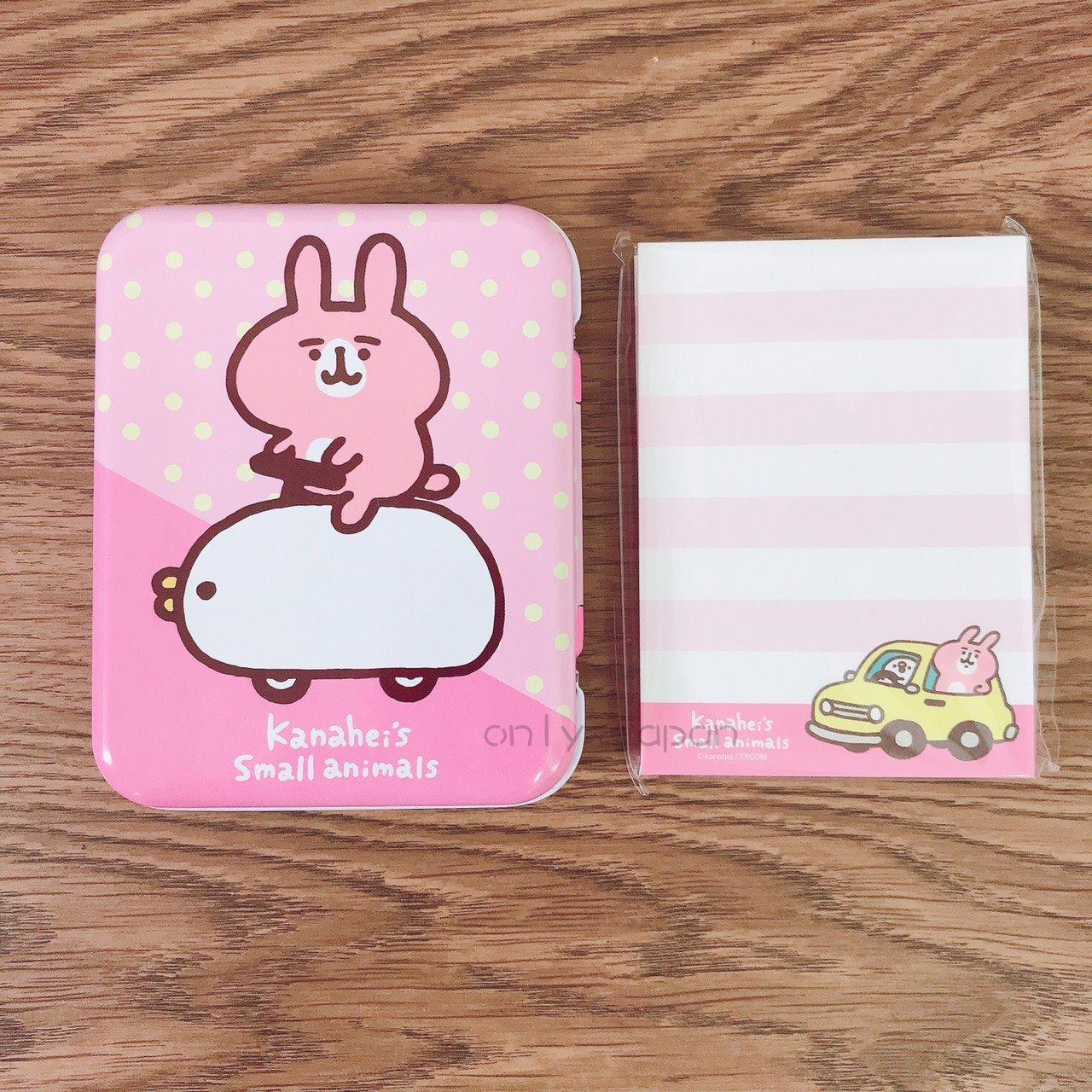 【真愛日本】18030600013 鐵盒便條紙-兔兔車車 卡娜赫拉的小動物們 兔兔 P助小雞 日用品 便條紙 小物收納 紙製品 文具