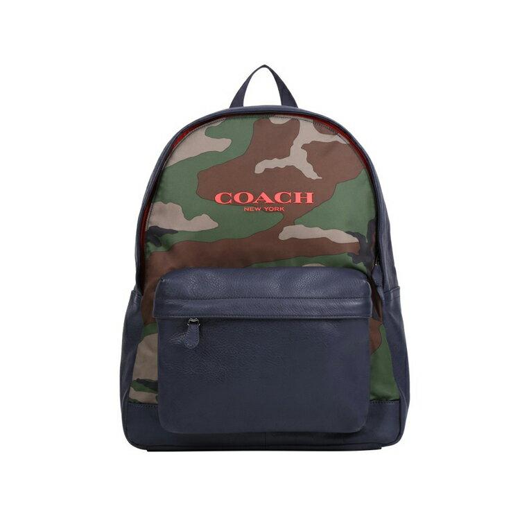 COACH  F71755 男款尼彩帆布配皮雙肩包男士旅行包