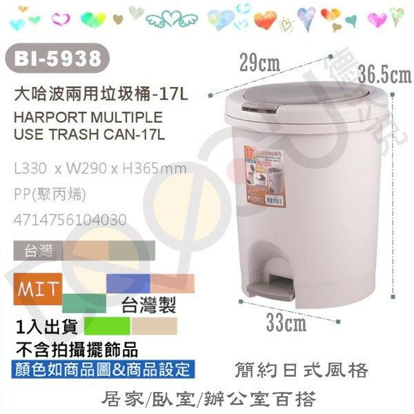 翰庭 BI-5938 大哈波 手壓腳踏兩用圓型垃圾桶/17L 紙林 掀蓋垃圾桶 台灣製