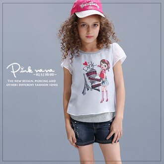 PINKNANA 中大童運動風雪紡棉質上衣 夏天短袖假兩件T恤 33166