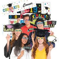 Party City 2019 Graduation Multicolor Super Photo Booth Kit, Includes 23 Props