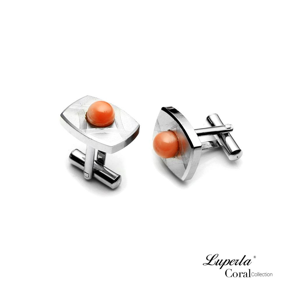 大東山珠寶 簡約線條 仕紳系列 天然粉珊瑚  西裝領徽 袖扣 3