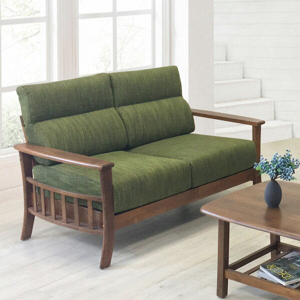 !新生活家具!《朝氣》二人位沙發雙人座布沙發木製沙發亞麻布橡膠木自然清新綠色
