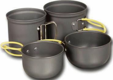 野樂 [ Camping Ace ] ARC-510 雙人硬質氧化套鍋/黑鋁鍋/登山鋼杯 兩鍋兩碗組