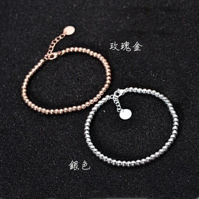 316L醫療鋼 小圓珠腳鍊-銀、玫瑰金 防抗過敏 不退色