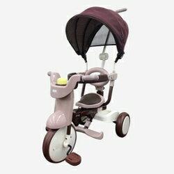 【日本iimo*加贈寶兒防曬乳】【遮陽款】日本iimo #02兒童三輪車(折疊款-棕色)【紫貝殼】