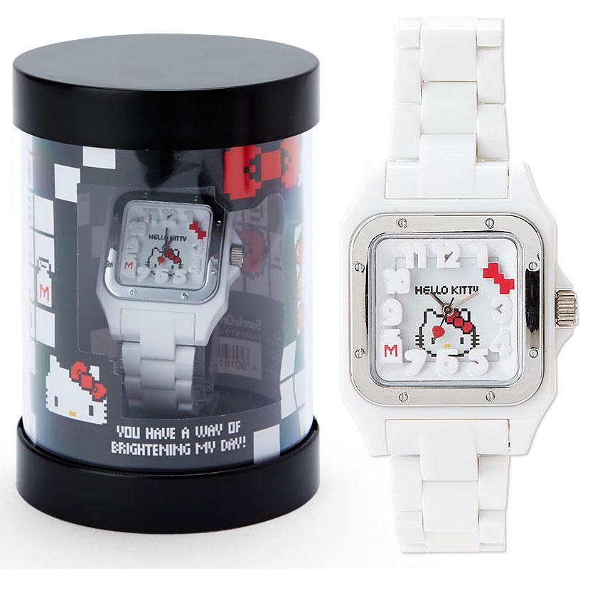 KITTY女用手錶像素遊戲風系列方形錶面寬錶帶附圓筒盒大臉516898海渡