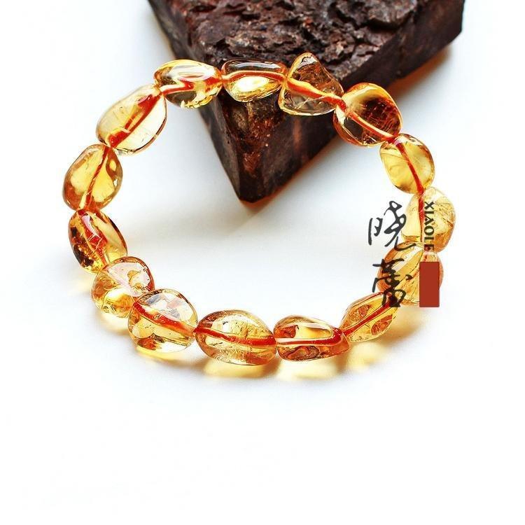 【大顆粒】黃水晶手鏈 隨意橘黃水晶手鏈原色