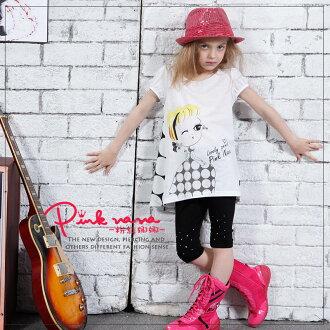 PINKNANA童裝 女童拼接雪紡造型長版上衣31121