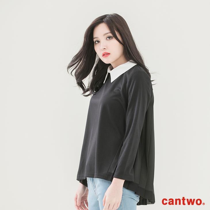 cantwo異素材拼接襯衫領長袖上衣(共二色) 2