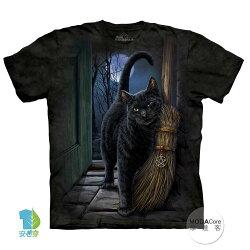 【摩達客】(預購) 美國進口The Mountain 魔法掃把貓 純棉環保短袖T恤