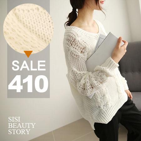 SISI【L5070】時尚名媛 韓版隨性寬鬆舒適鏤空鈎花針織衫上衣罩衫