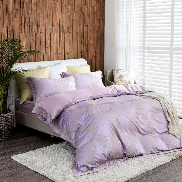 床包被套組天絲緹花四件式雙人薄被套床包組典雅花開[鴻宇]台灣製M2558