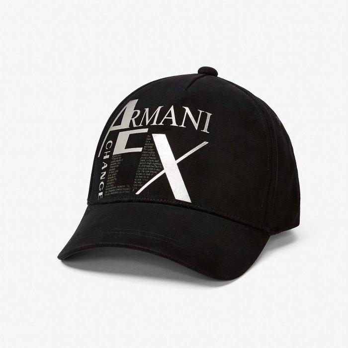 美國百分百【全新真品】Armani Exchange 棒球帽 AX 帽子 遮陽帽 銀色錫箔 logo 黑色 H706