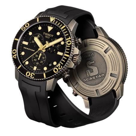 TISSOT 天梭 T1204173705101 Seastar海星300米潛水錶 黑 金 46mm 2