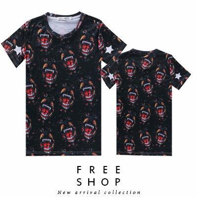 Free Shop【QFSLY2273】日韓美式潮流兇猛羅威納犬袖口星星造型滿版圓領棉質短袖上衣