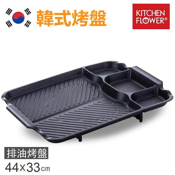 快樂老爹:【韓國KITCHENFLOWER】新款三格長型烤盤韓國滴油烤盤NY-3028(長型44X33cm)