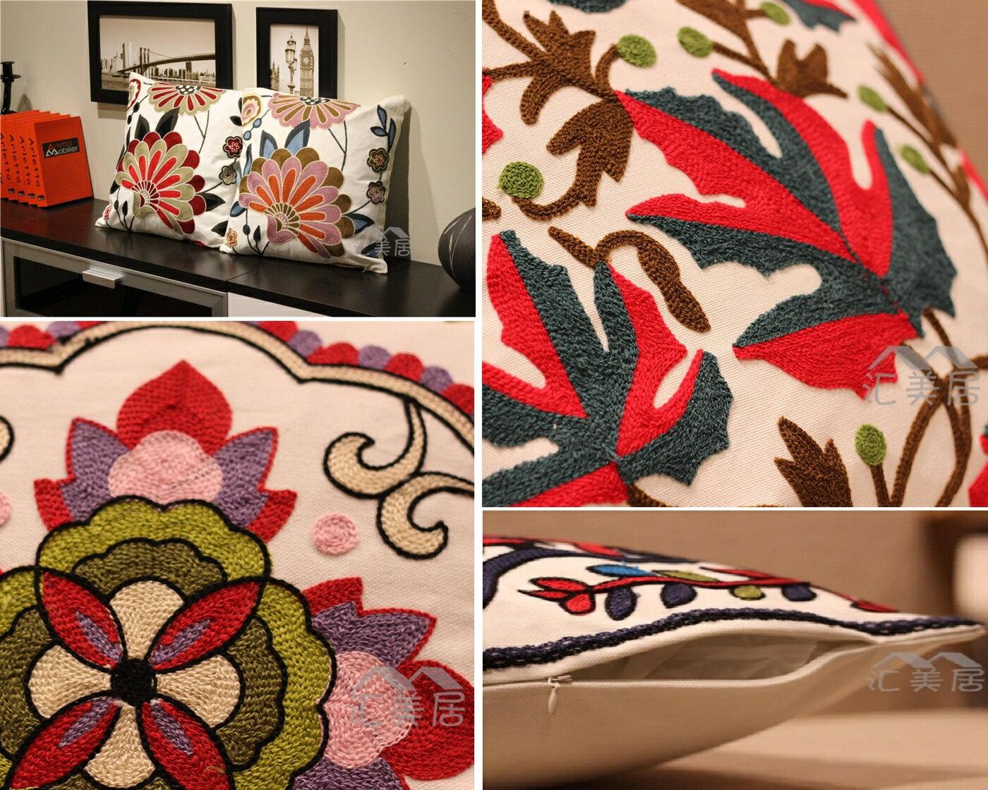 歐式抱枕 裝飾 純棉立體刺繡花卉 不含芯