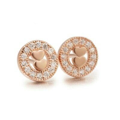 ~925純銀耳環鑲鑽耳飾~甜美可愛氣質百搭情人節 女飾品2色73dm63~ ~~米蘭 ~