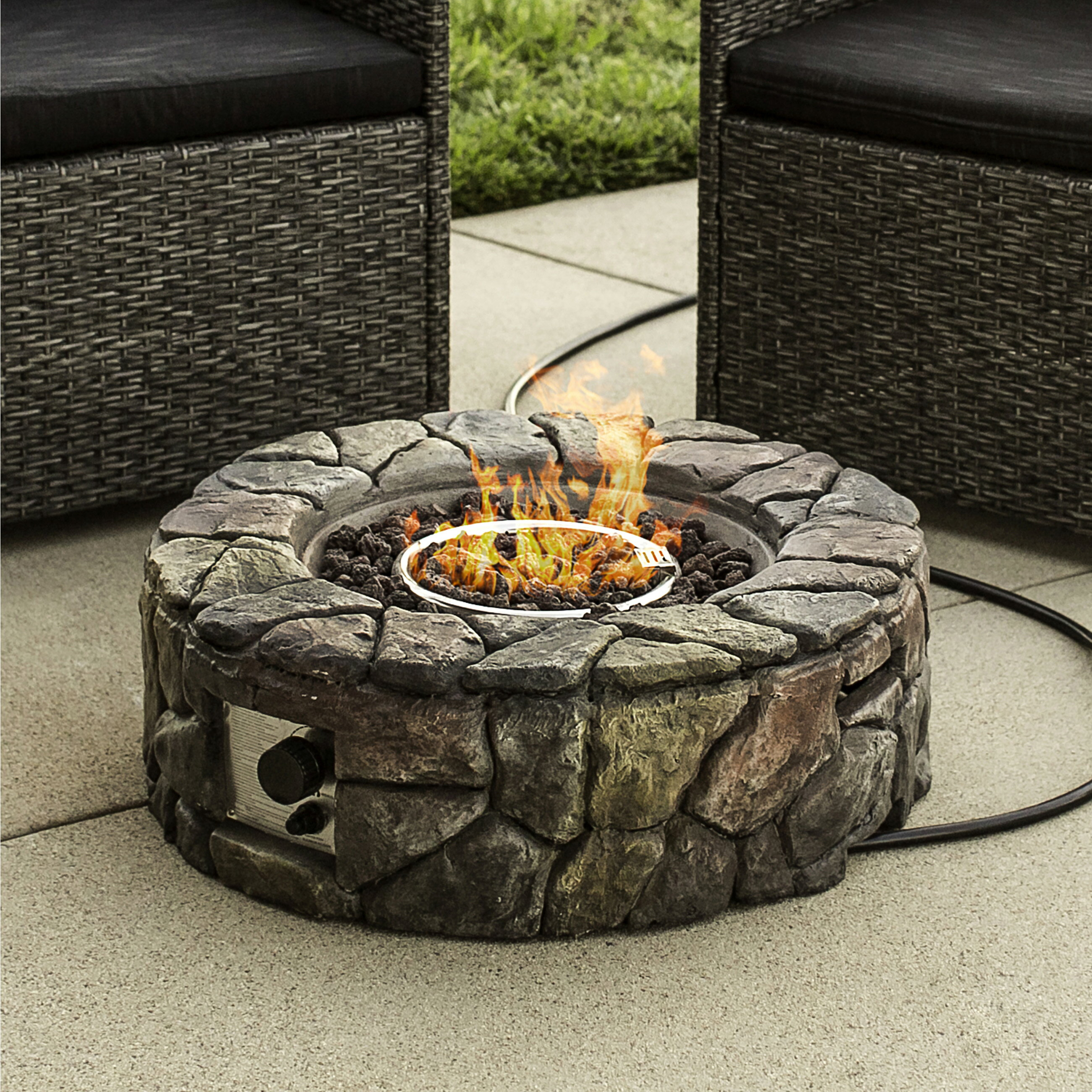Cool Best Choice Products Home Outdoor Patio Natural Stone Gas Fire Pit For Backyard Garden Multicolor Download Free Architecture Designs Grimeyleaguecom