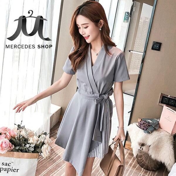 《全店75折》韓國V領簡約純色綁帶條紋連身裙短袖洋裝(S-XL,2色)-梅西蒂絲(現貨+預購)