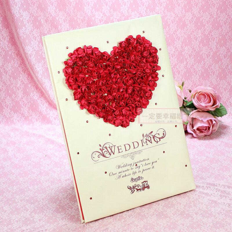 一定要幸福哦~~浪漫物語簽名本(紅)、婚禮小物、簽名筆、結婚用品