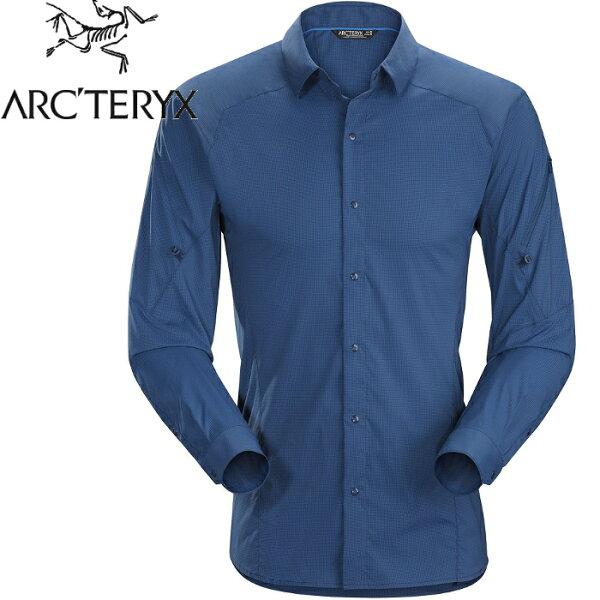 Arcteryx始祖鳥排汗襯衫休閒襯衫登山長袖襯衫Elaho13652男款夜景藍
