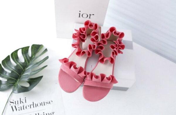 Pyf♥歐美性感荷葉邊繞踝絨面一字魚口平底涼鞋加大48大尺碼女鞋