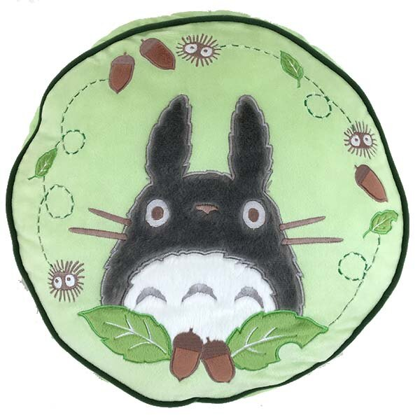 【真愛日本】16080400035棉柔圓抱枕-灰龍貓栗子綠    龍貓 TOTORO 豆豆龍   抱枕  靠枕  正品