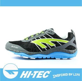 萬特戶外運動 HI-TEC 哈樂卡夜跑 HARAKA NITE A005787051 男超輕野跑鞋 反光 吸濕排汗 耐磨大底 抓地力強 透氣 輕薄 藍/螢光綠色