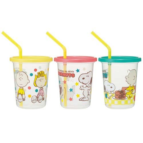 日本製 史努比 兒童吸管水杯組 320ml 3入 吸管杯 *夏日微風*