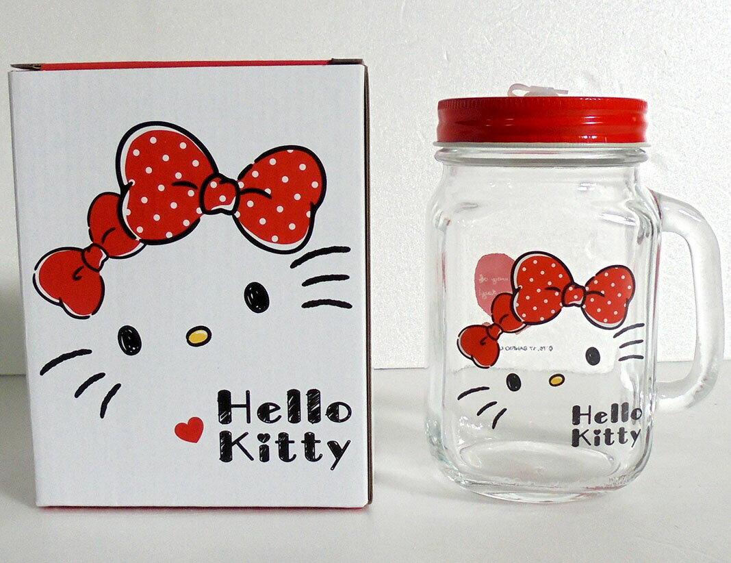 【真愛日本】17112000006 玻璃梅森杯-KT經典大臉 三麗鷗 kitty 凱蒂貓 玻璃杯 保鮮罐 收納罐