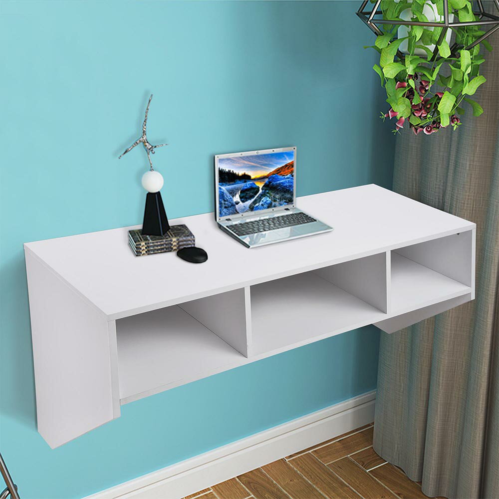 Wall Mounted Floating Desk with Storage 80lbs Weight Capacity Computer Laptop Home Furniture White 0
