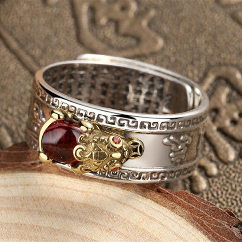 心經戒指 真開光招財轉運防小人紅寶石貔貅真言心經飾戒指男女指環『xxs12983』