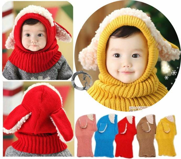 童衣圓 ~R073~R73綿羊套頭帽 毛線 針織 動物  連帽 脖圍 圍脖 針織帽 套頭帽