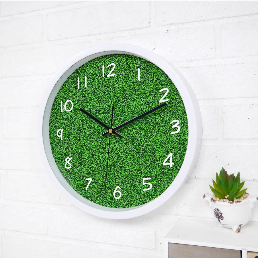 時鐘 掛鐘 草原 草地 綠草田園小清新風格 有框靜音時鐘 特色造型個性裝飾擺飾浪漫時鐘