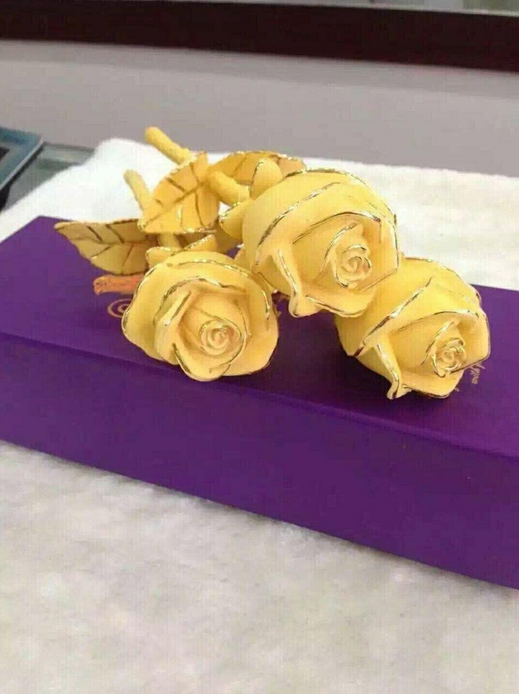 絨沙金 黃金工藝擺件 玫瑰系列