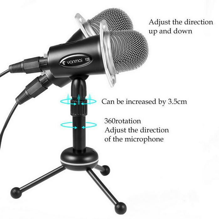 Condenser Microphone With Tripod Stand for PC Laptop Computers Sound Studio Podcast Recording 3
