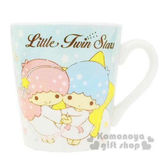 〔小禮堂〕雙子星 陶瓷馬克杯《藍.星星.牽手》可愛實用