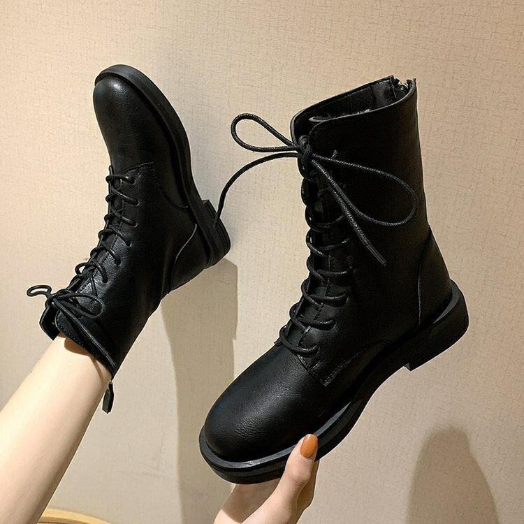馬丁靴女2020年新款夏季薄款韓版百搭英倫風厚底系帶中筒春秋單靴♠極有家♠