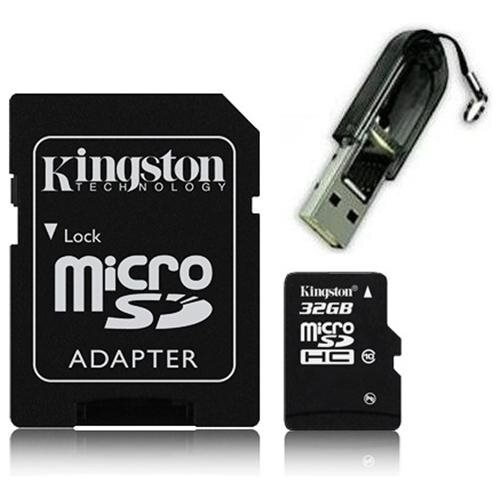 Kingston 32GB microSDHC 45MB/s UHS-I U1 Class 10 32G microSD micro SD SDHC C10 Flash Memory Card SDC10G2/32GB + OEM USB 2.0 Card Reader