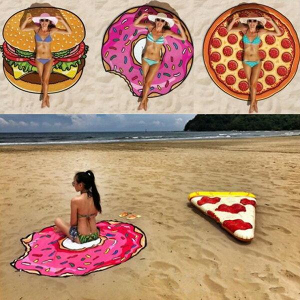 Alice餐廚好物:|預購|夏季必備甜甜圈漢堡西瓜杯子蛋糕造型沙灘巾野餐墊旅遊推薦