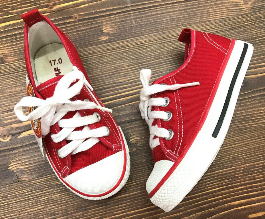 【巷子屋】童款素色側拉鍊休閒帆布鞋 台灣製造 [T906] 紅 超值價$200