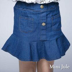 《Mini Jule 童裝》褲裙 魚尾造型雙口袋褲裙( 深藍)