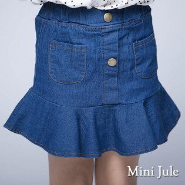 《MiniJule童裝》褲裙魚尾造型雙口袋褲裙(深藍)